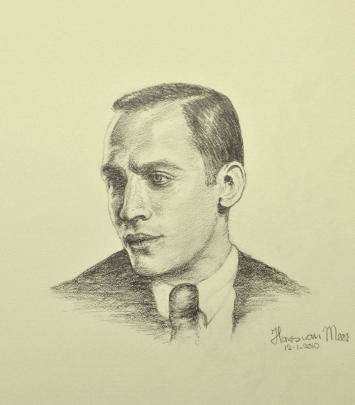 """DAD"" Pencil drawing by Hans van Meer. 15 cm/6 inch high."